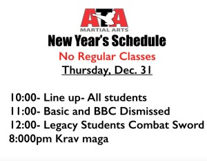 New Year's Eve Schedule