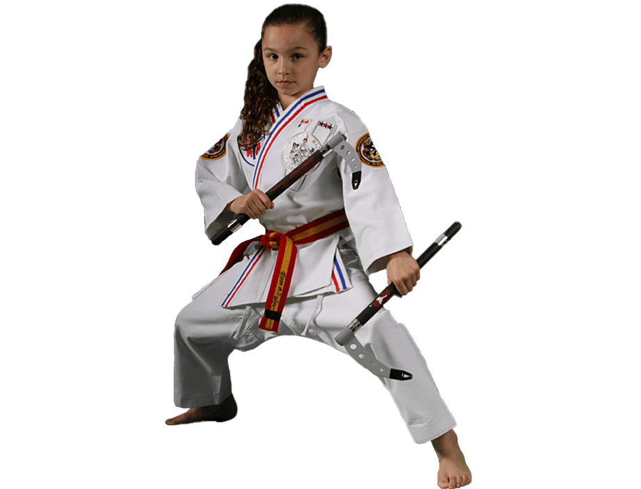 young girl with martial arts weapons